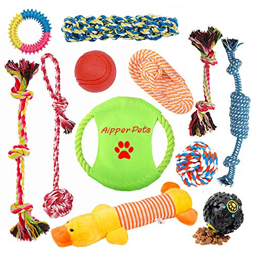 Aipper Dog Puppy Toys 12 Pack, Puppy Chew Toys for Playtime and Teeth Cleaning, IQ Treat Ball Squeak Toys and Dog Flying Disc Included, Puppy Teething Toys for Medium to Small Dogs, (Assorted Colors) ()