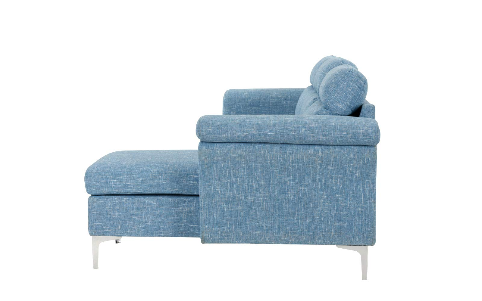 Casa Andrea Milano Modern Linen Fabric Sectional Sofa - Small Space Couch (Light Blue) - This small space sectional sofa features an exquisite modern design with wrap around armrest cushions for extra comfort. Our modern sectional sofa comes wrapped in carefully selected linen fabric upholstery. This modern sectional sofa has been specifically designed to fit into small spaces while still remaining spacious Our specially designed fabric provides the ultimate look while maintaining durability. - sofas-couches, living-room-furniture, living-room - 61AzhsVskpL -