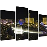 "Multi Split Panel Canvas Artwork Art - Las Vegas Eiffel Tower And Bellagio Fountains At Night Lights Black Sky America - ART Depot OUTLET - 4 Panel - 101cm x 71cm (40""x28"")"