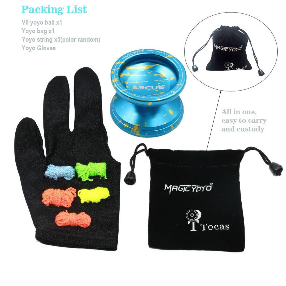 Pro Responsive V6 LOCUS SPACE Green Orange /Éclaboussures en argent Metal Yoyos pour d/ébutants avec gant de sac 5 cordes
