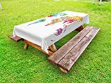 Ambesonne World Map Outdoor Tablecloth, World Map with Names of The Countries Europe America Africa Asia Graphic Style, Decorative Washable Picnic Table Cloth, 58 X 104 inches, Multicolor