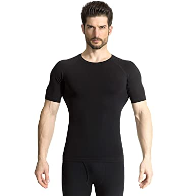 870db3bdd4 +MD Men's Short Sleeve Compression T Shirt - Workout Baselayer Shapewear  Crew Neck Small Black