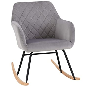 sports shoes 2737d c5264 Duhome Rocking Chair Grey Fabric Velvet Rocker Retro Design Relax Chair  Armchair with Metal and Wood Legs Colour Selection 8026Y