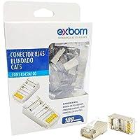 Conector de Rede RJ45 CAT5E 8P8C Blindagem Metal Suporta Gigabit Ethernet Exbom RJ45M100 Cx c/100 Un