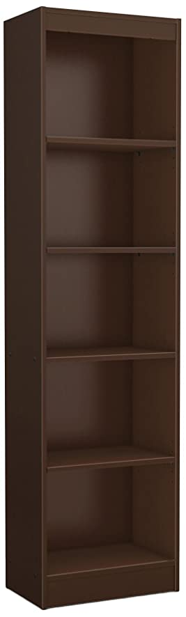 Great South Shore Axess Collection 5 Shelf Narrow Bookcase, Chocolate