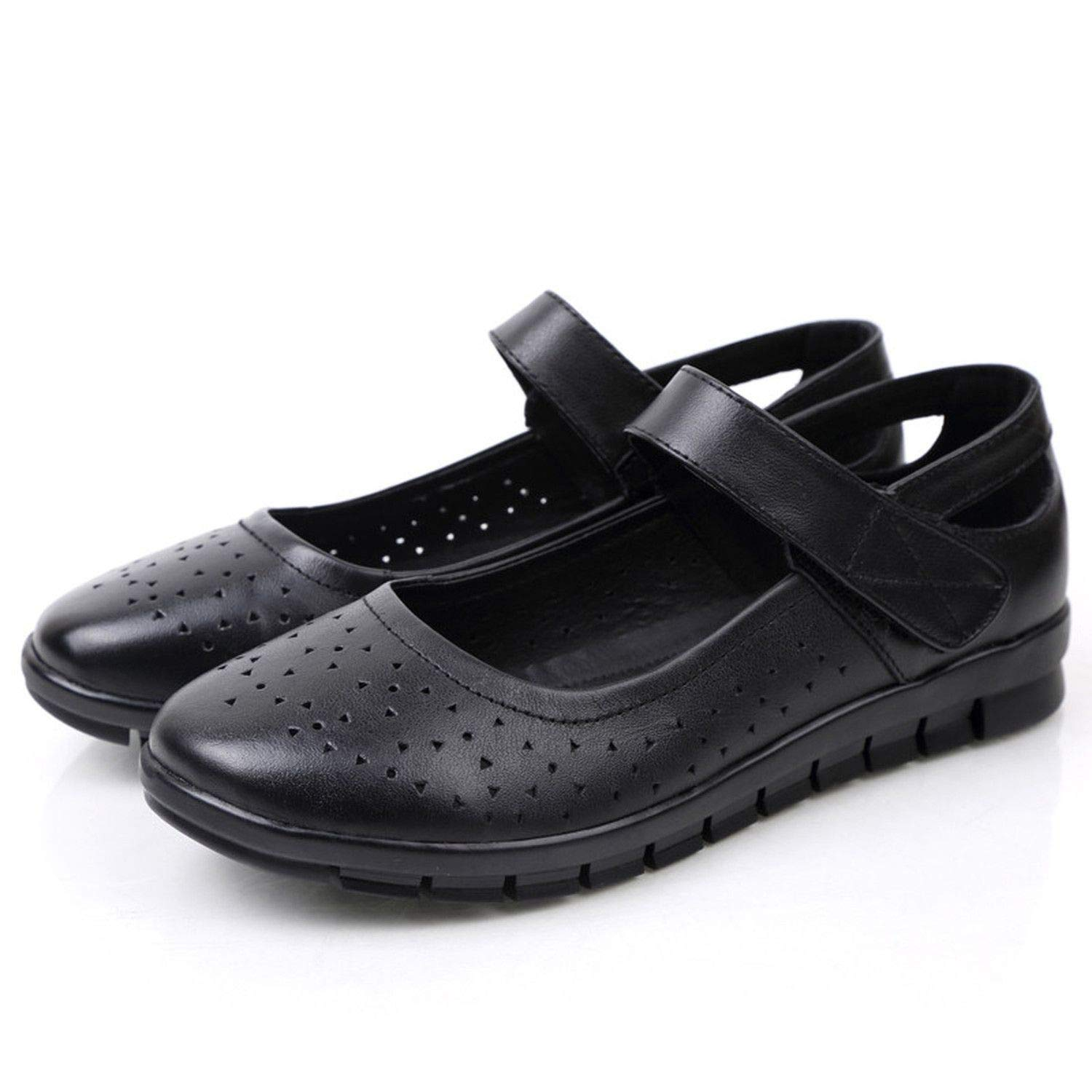 Spring Autumn Mother Shoes Soft Soled Casual Comfortable Women Flat Shoes Hollow Breathable Grandma Shoes