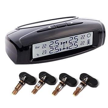 HEIFEN TPMS Monitor de presión de neumático Solar LED Pantalla Larga Pantalla Detector de presión de