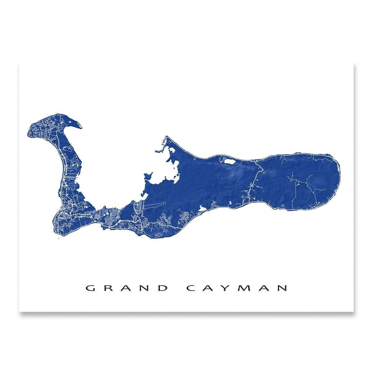 Grand Cayman Map Art Print Wall Artwork Poster Caribbean Island