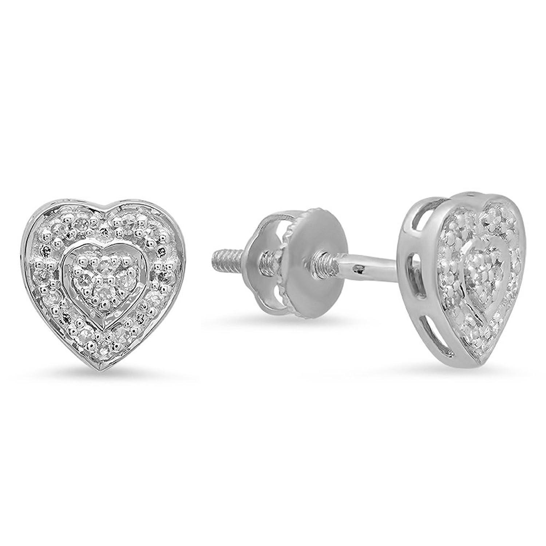 0.10 Carat (ctw) 10K Gold Round Cut Diamond Ladies Heart Shape Earrings 1/10 CT