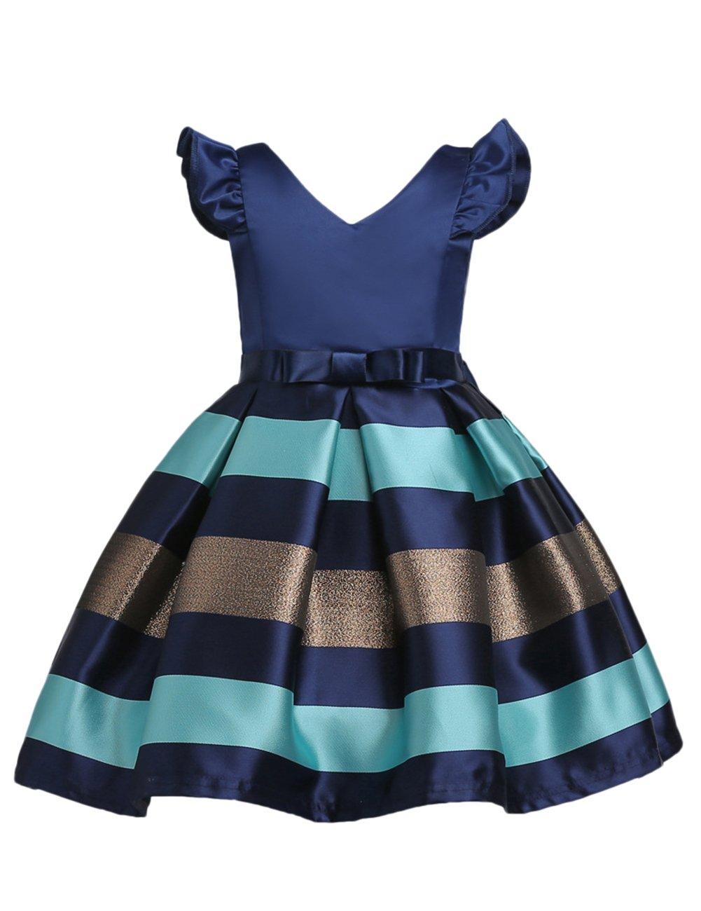 Gprince Girl Clothing Princess Dress Sleeveless Stripe V-shape Kids Party Gift