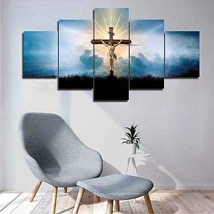 Amazon Com Framed Wall Art Living Room Decor 5 Piece Canvas Jesus
