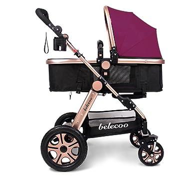 Puede ser reclinable, carritos de los niños, carros de bebé, carruajes de alto perfil del bebé, cochecito ligero (Color : Earthly gold purple) : Amazon.es: ...