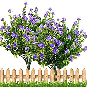 TOOGOO 4pcs Fake Plants Artificial Greenery Shrubs Eucalyptus Branches Purple Baby's Breath Flower Plastic Bushes House Office Garden Patio Yard Indoor Outdoor Decor 36