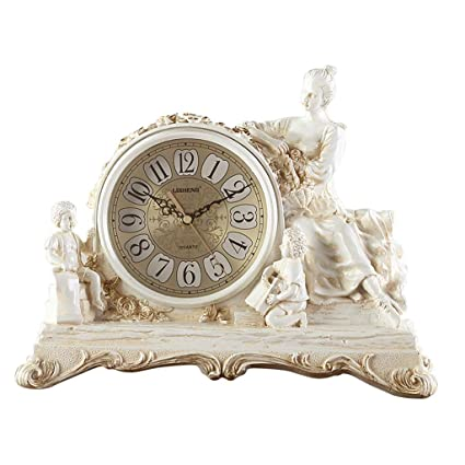 Family Fireplace Clocks Antique Fireplace Desk Clock, Decoration ó n Silent Living Room Resin Retro