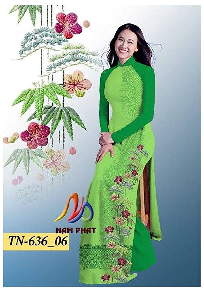 Silk 3D ADVN01055 Ao Dai Traditional Vietnamese Long Dress Collections with Pants