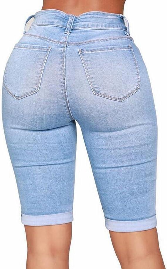FRPE Women Casual Moto Biker Slim Ruched Stretch Denim Shorts Jeans
