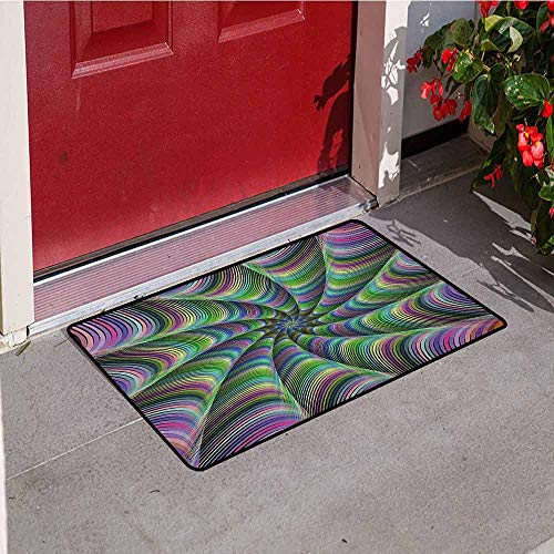 GloriaJohnson Fractal Inlet Outdoor Door mat Psychedelic Tentacles Converging into Flower Form Infinity Spinning Focus Design Catch dust Snow and mud W19.7 x L31.5 Inch Green Purple