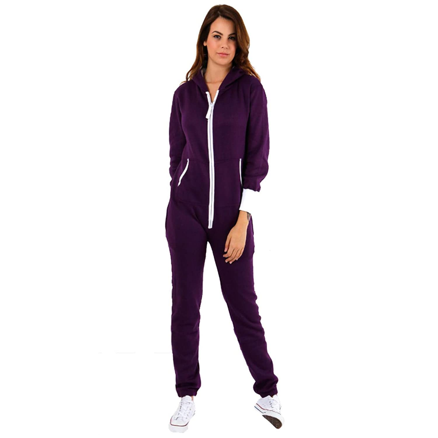 24b1e2a08254 Fatal Fashion Women's Plain Zipper Onesie Ladies Onepiece All in One Hooded  Zip Up Overall Jumpsuit Playsuit Onesie S-5XL 8-22: Amazon.co.uk: Clothing