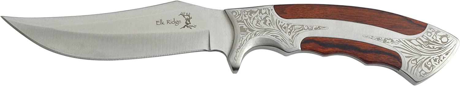 Elk Ridge - Outdoors Fixed Blade Knife - 9.8-bei Overall, 5-bei Satin Finish Stainless Steel Blade, Wood und Metal Handle mit Etched Pattern, Nylon Sheath - Er-269