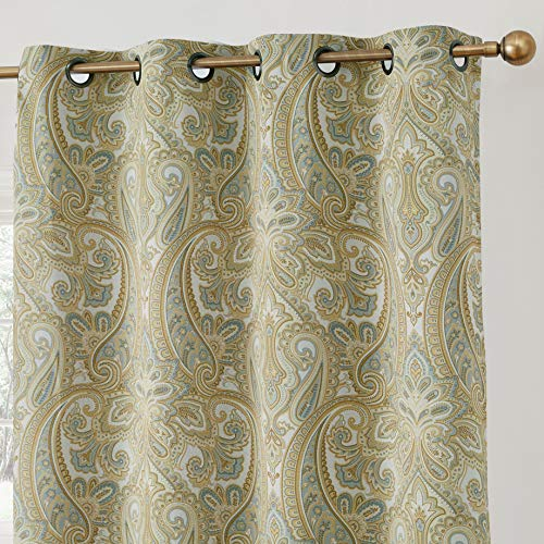 - HLC.ME Paris Paisley Print Damask Thick Thermal Insulated Energy Efficient Room Darkening Blackout Grommet Top Window Curtain Panels for Bedroom - Set of 2-50