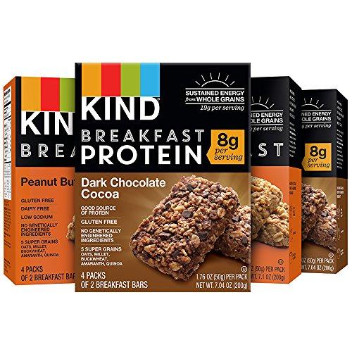 KIND Breakfast Bars Variety Pack, Dark Chocolate Protein & Peanut Butter, Gluten Free, Non GMO, 1.8oz, 16 Count