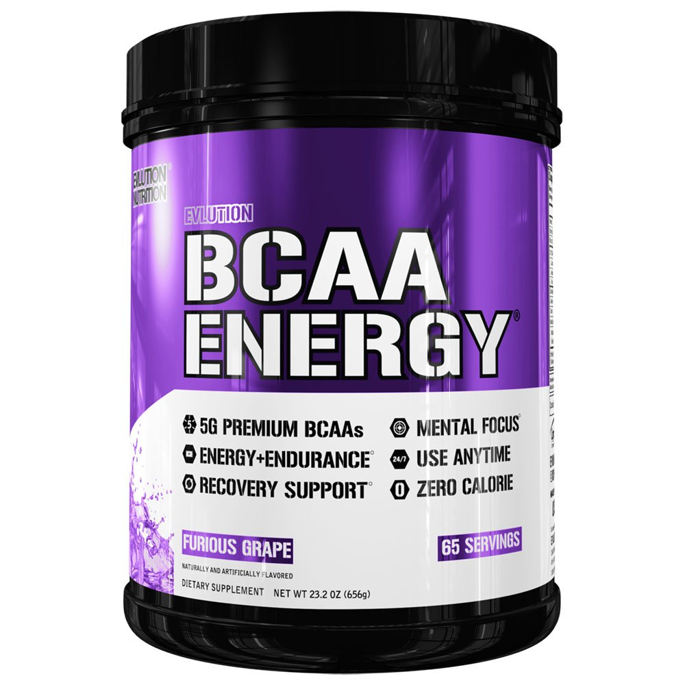 Evlution Nutrition BCAA Energy - High Performance Amino Acid Supplement for Anytime Energy, Muscle Building, Recovery and Endurance, Pre Workout, Post Workout (Furious Grape, 65 Servings) by Evlution