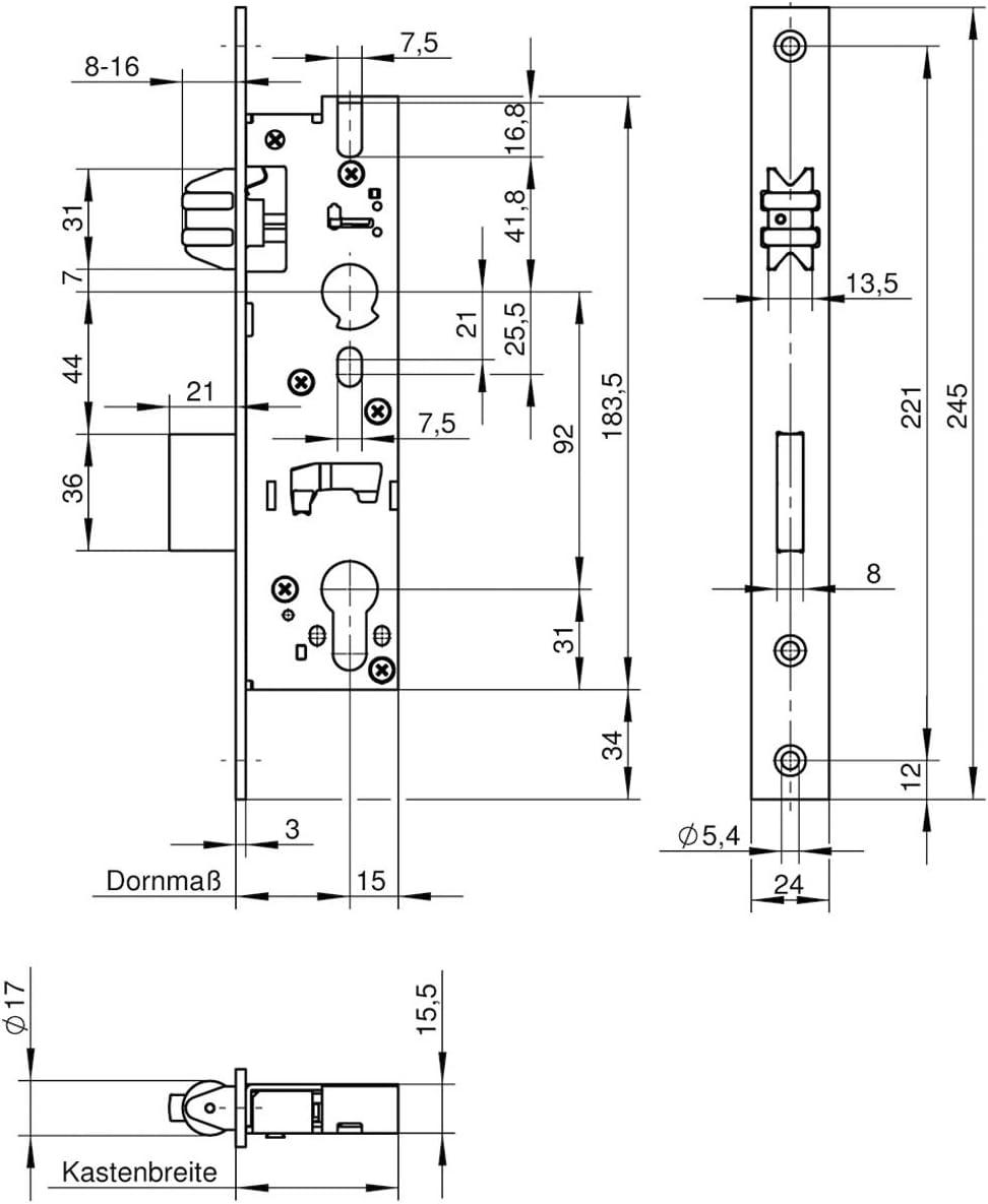 Stulpe 245 mm flach Edelstahl Dornma/ß: 35 mm WILKA Rollfallenschloss 1452 1 St/ück