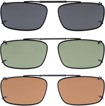 Eyekepper Grey/Brown/G15 Lens 3-packs Clip-on Polarized Sunglasses