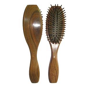 Wooden Hair Brush,New Star Anti-static Natural Sandalwood Bristle Cushion Detangling Massage Hair Brush Comb + 1 Free Premium Giftbox
