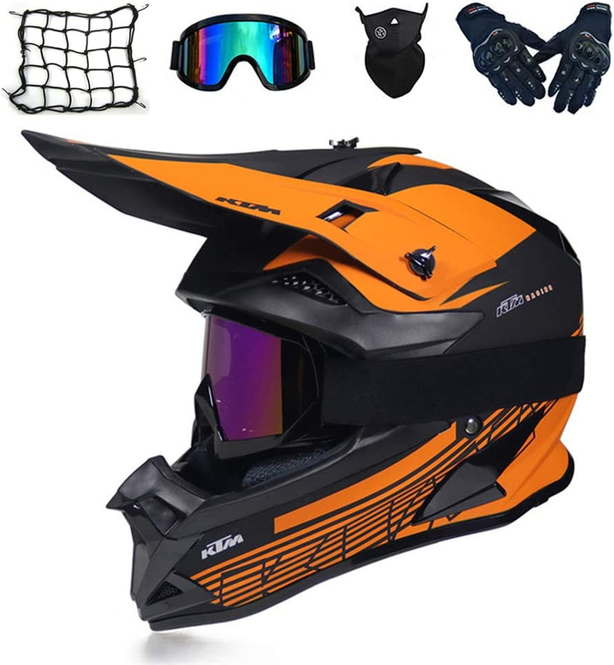 Casco da Cross Adulto con Occhiali Casco Integrale MTB Enduro per Downhill Moto Motociclista off-Road Scooter Sport 5 PCS 2 Stili Disponibili MRDEAR Casco Motocross Arancione