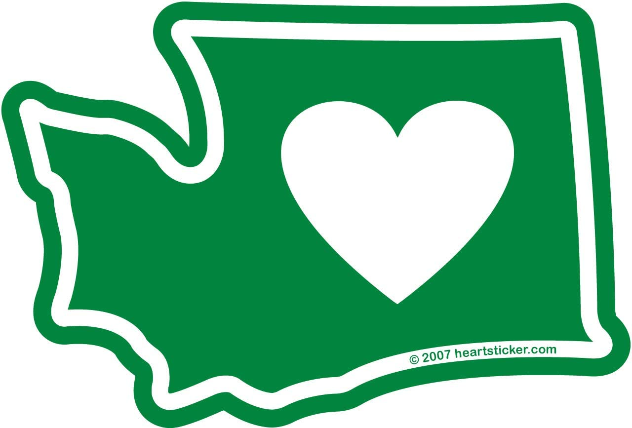 Heart in Washington Sticker | 3.5 x 3 inch WA Evergreen State Shaped Label | Apply to Mug Phone Laptop Water Bottle Decal Cooler Bumper | Green state white heart Seattle Mt Rainier Olympic range