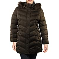 Kenneth Cole New York Chevron Quilted Puffer w/Faux Fur Trimmed Hood