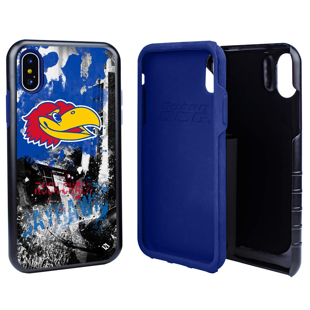 Guard Dog Kansas Jayhawks PD Spirit Hybrid Case for iPhone Xs Max with Guard Glass Screen Protector by Guard Dog