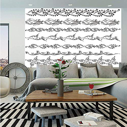 - Henna Huge Photo Wall Mural,Fantasy Spring Blossoms Abstract Display Traditional Borders Collection Monochrome Decorative,Self-Adhesive Large Wallpaper for Home Decor 108x152 inches,Black White