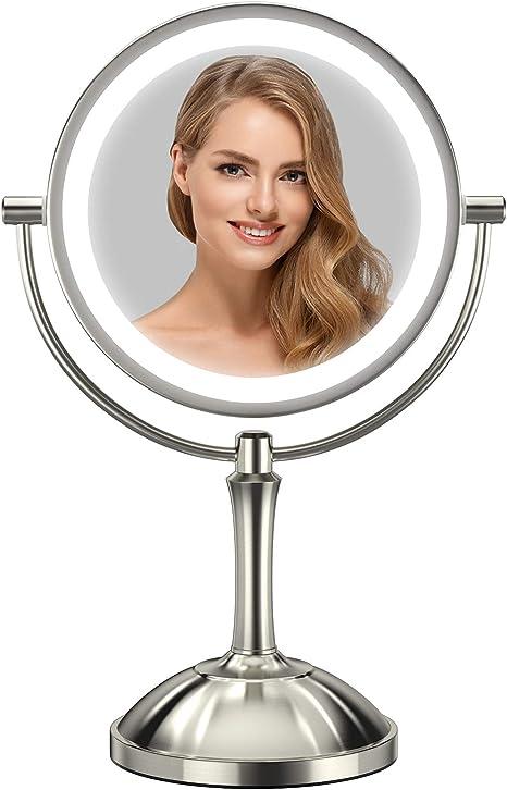 Lighted Makeup Mirror-10X Magnifying Makeup Mirror with Lights High Color Rendering Led Makeup Mirror-Smart Sensor Adjusts Natural Light-360 Degree Rotatation