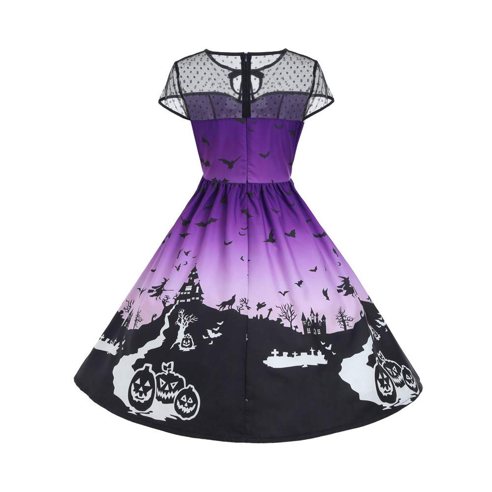 Womens Tops Clearance WEUIE Halloween Women's Mesh Patchwork Printed Vintage Gown Sleeveless Party Dress (M, Purple)