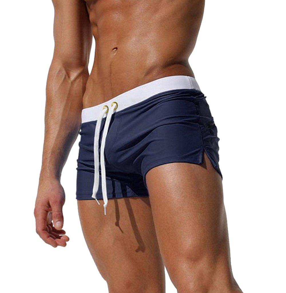 TONLEN Mens Swimwear Short Swim Trunks with Zipper Pockets Dark Blue 2 L by TONLEN
