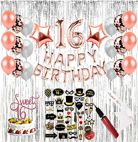 Sweet 16 Party Supplies (64 Pieces) | 16th Birthday Party Supplies | Decorations with Sweet Sixteen Sash, Photo Booth Props, Balloon Pump, Photo Backdrop, Rose Gold Number Balloons & Cake -