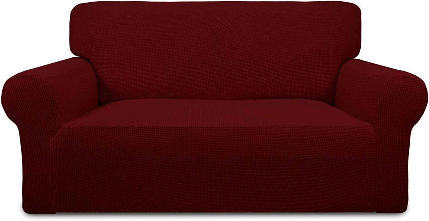 PureFit Stretch Loveseat Sofa Slipcover – Spandex Jacquard Non Slip Soft Couch Sofa Cover, Washable Furniture Protector with Non Skid Foam and Elastic Bottom for Kids (Loveseat, Wine)