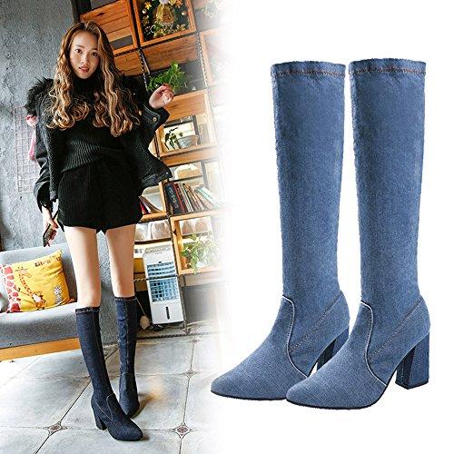 Tubo Mujer MYQyiyi Azul o Tacones de de Zapatos de Largos 38 para por Oto Botas Invierno Moda qHqwTX
