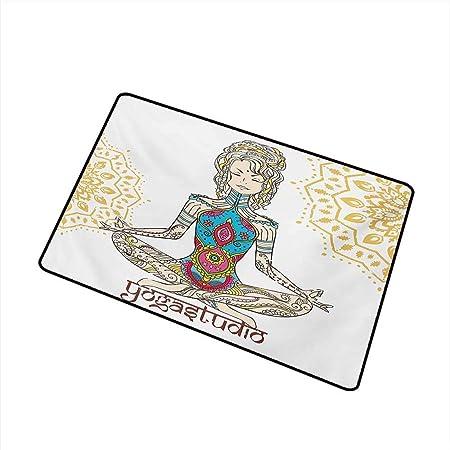 LiminiAOS Chakra Front Door Mat Carpet Girl in Yoga Position ...