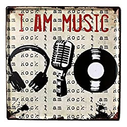 FLY SPRAY Decorative Signs With Saying I Am Music Tin Metal Iron Sign Painting For Wall Home Office Bar Coffee Shop
