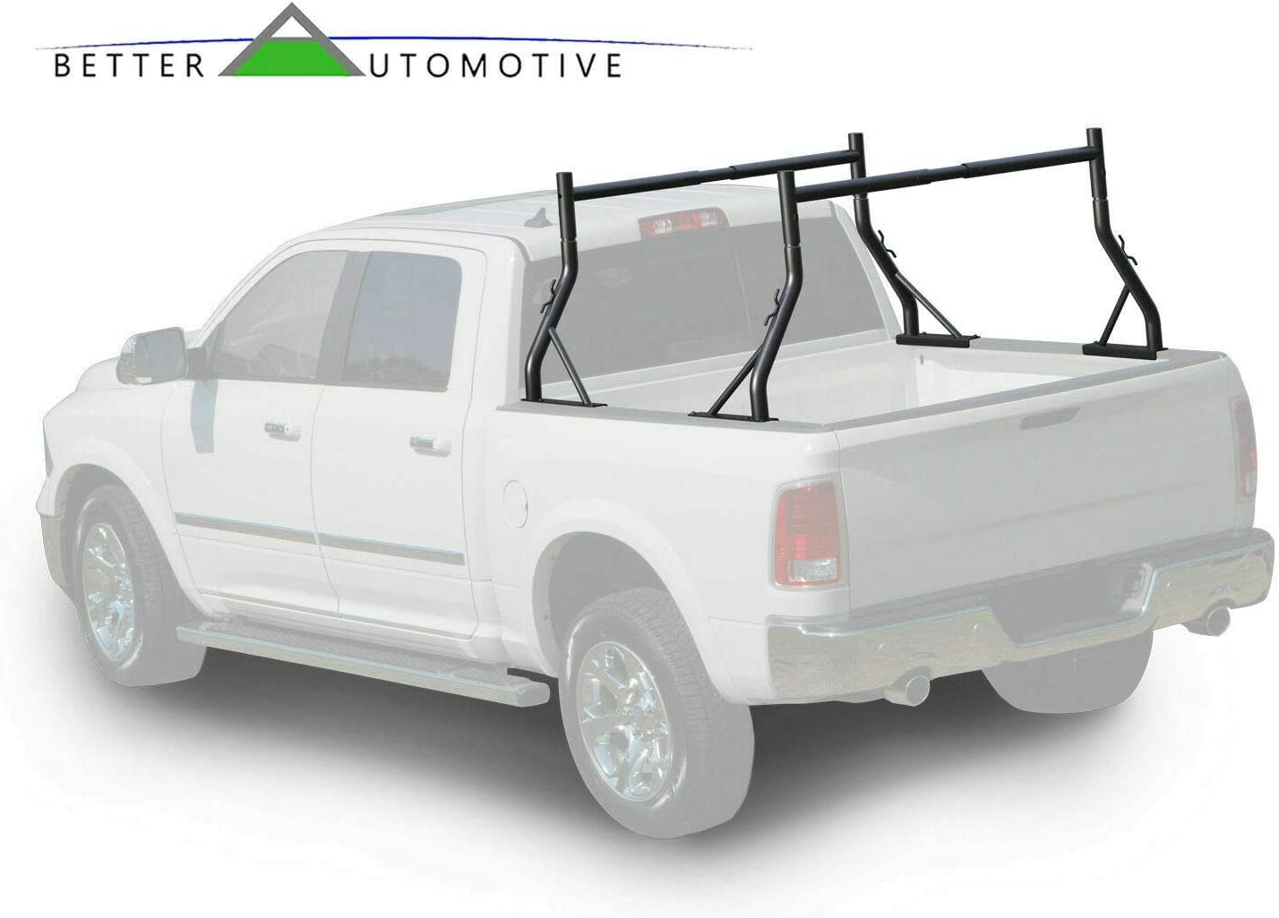 BETTER AUTOMOTIVE Adjustable Truck Bed Ladder Rack 2 Bars Pick up Rack 500 LBS Capacity Utility Contractor Universal Custom Fit Kayak Canoe Boat Ladder Pipes Lumber Cargo Carrier Accessories