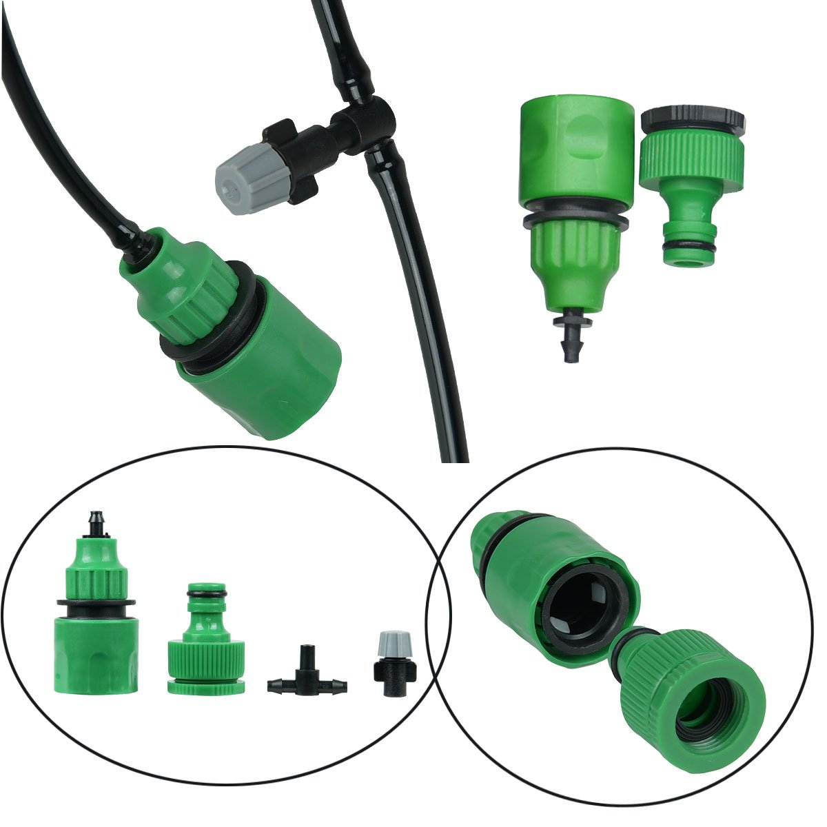 82FT Mist Cooling System with 25PCS Plastic Mist Nozzles For Outdoor Lawn Patio Garden Greenhouse by Forfuture-go (Image #9)