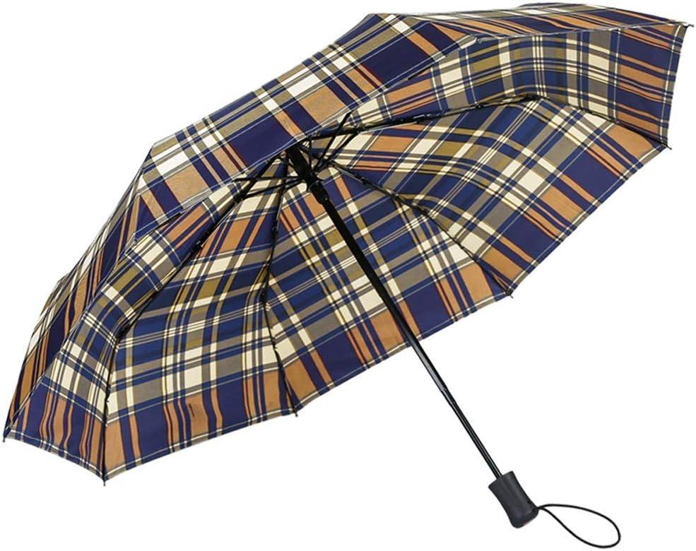 Paraguas De Los Hombres De Negocios Autom/ático De Tres Veces Paraguas De Refuerzo Celos/ía Lluvia Doble USO Doble Paraguas Plegable Umbrella Against Wind Color : A WN