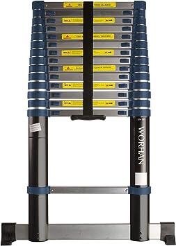 WORHAN® 4.4m Escalera Telescopica 440cm PRO Multiuso Multifuncional con Estabilizador Aluminio Anodizado Normativa EN131 1K4.4: Amazon.es: Bricolaje y herramientas