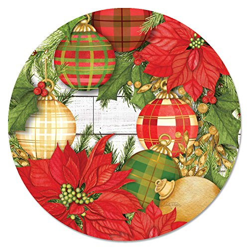 CounterArt 13-Inch Glass Lazy Susan Turntable Serving Plate, Poinsettias and Ornaments