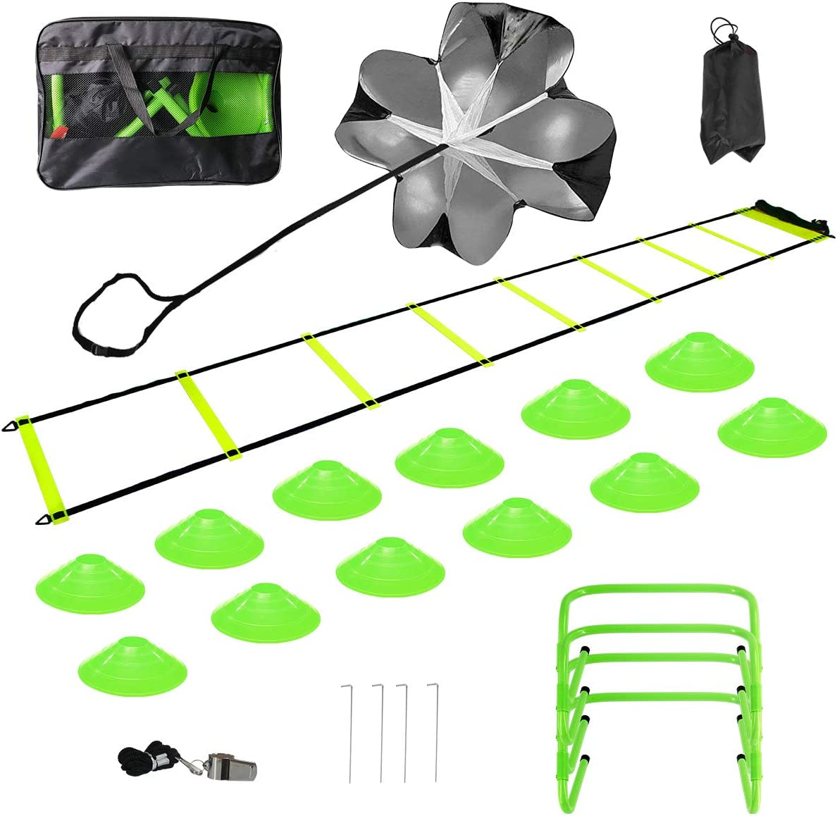 pingqian Speed Agility Training Set, Includes Agility Ladder, Resistance Parachute, Whistle, 12 Agility Disc Cones,4 Hurdles-Exercise Equipment Boost Fitness & Increase Quick Footwork for All Sports