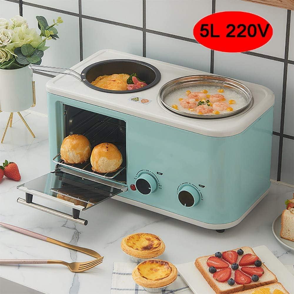 HIGHKAS Mini Horno Tres en uno 5L, máquina Desayuno pequeña multifunción, freír, hervir, Asar al Mismo Tiempo, es el Mejor ayudante en la Cocina, Azul Claro: Amazon.es: Deportes y aire libre