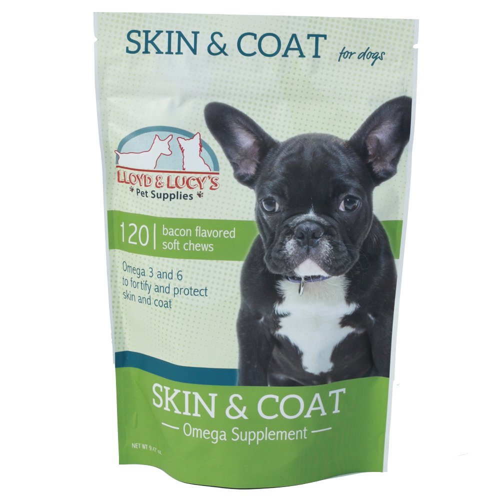 Skin and Coat Omega Supplement for Dogs, Omega 3 and 6 for Healthy Skin and Shiny Coat, 120 Soft Chews, Bacon Flavored Treats, Protects Against Itchy and Dry Skin, Fortifies and Strengthens Coat (120)